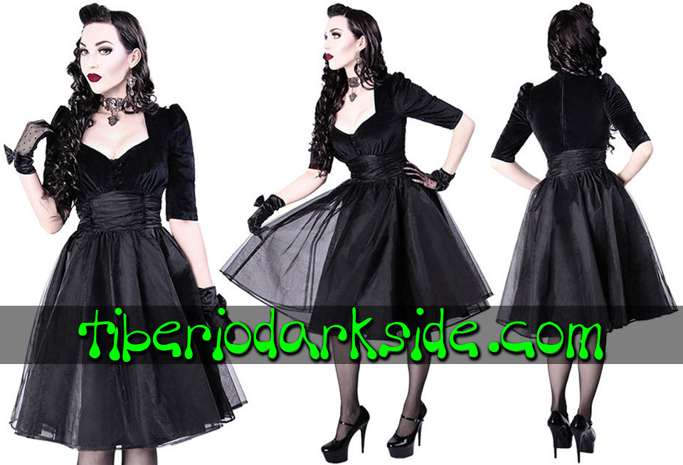 Dresses - Short - Short Sleeve RESTYLE Velvet and Organza Retro Goth Dress