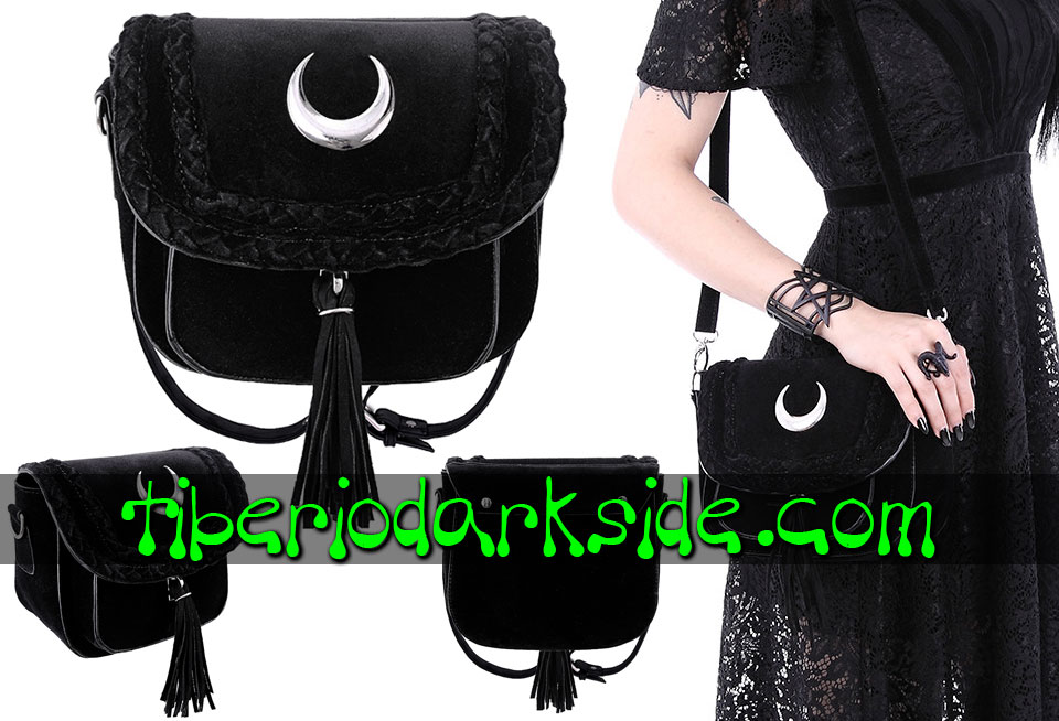 BAGS - Bags RESTYLE Velvet Crescent Moon Nu Goth Bag