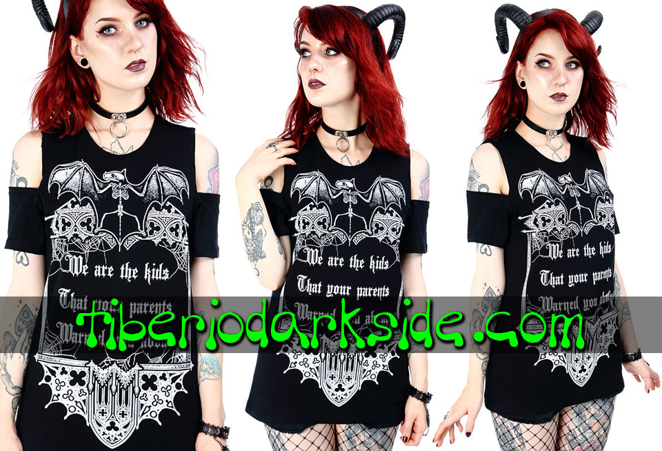 NU GOTH - Camisetas RESTYLE Camiseta Hombros We Are The Kids