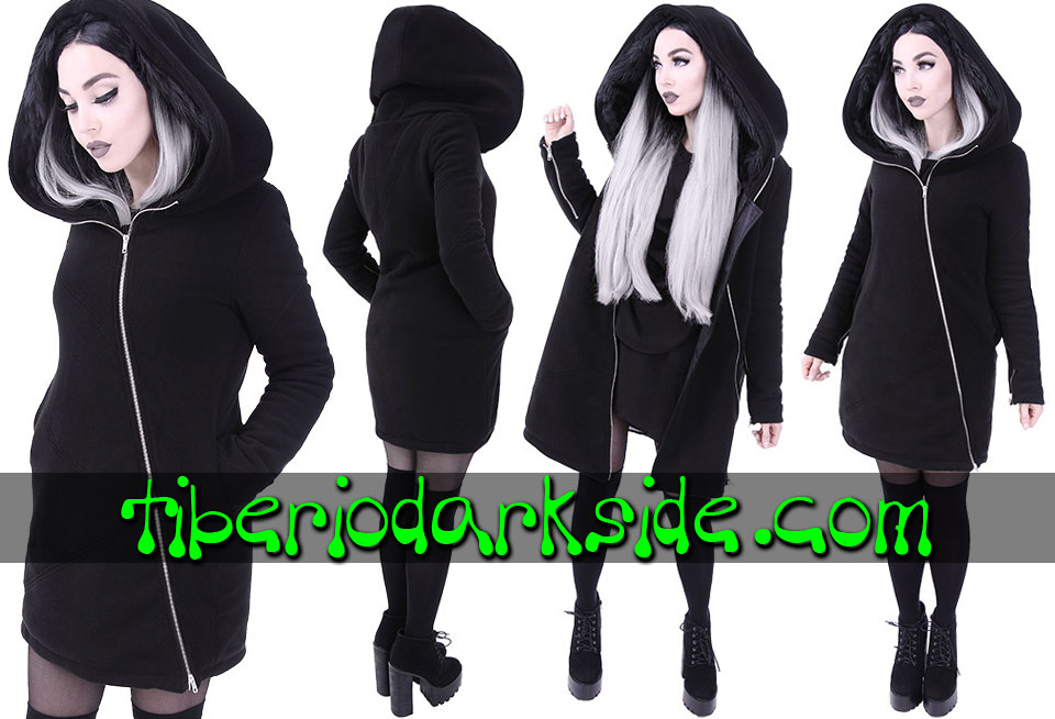 WITCHY & NU GOTH - Outwear RESTYLE Fur Trim Zipper Nu Goth Long Hoodie
