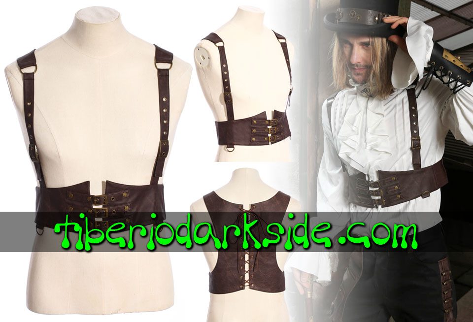 HOMBRE - Accesorios RQ-BL Arnes Chaleco Steampunk Tornillos
