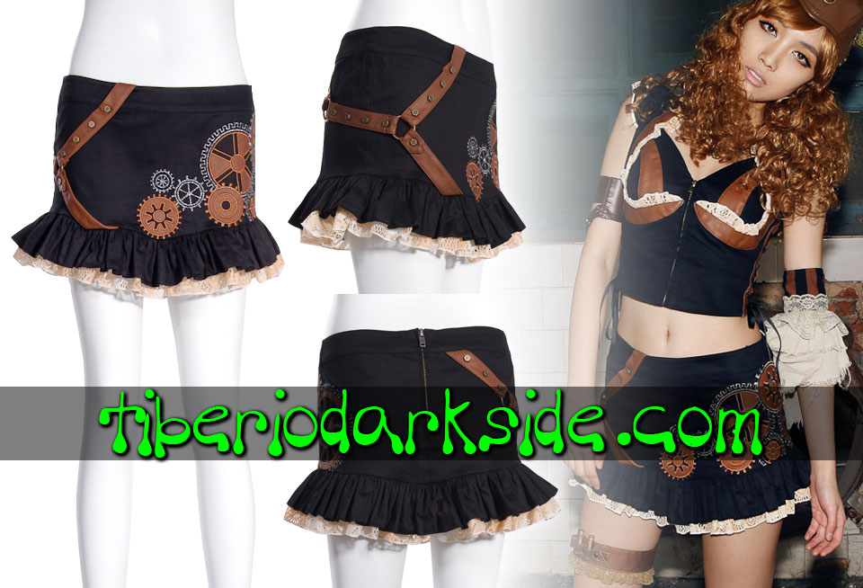 Skirts - Short RQ-BL Black Gears Embroidery Steampunk Skirt