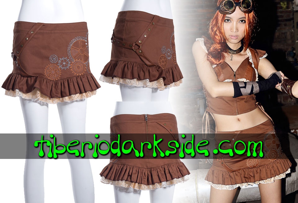 Skirts - Short RQ-BL Brown Gears Embroidery Steampunk Skirt