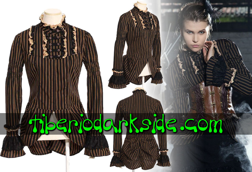 STEAMPUNK - Shirts RQ-BL Brown Stripes Steampunk Shirt