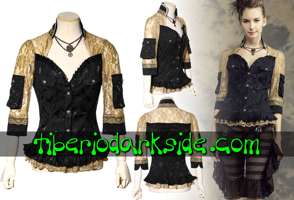 STEAMPUNK - Shirts RQ-BL Noble Lady Golden Lace Steampunk Shirt