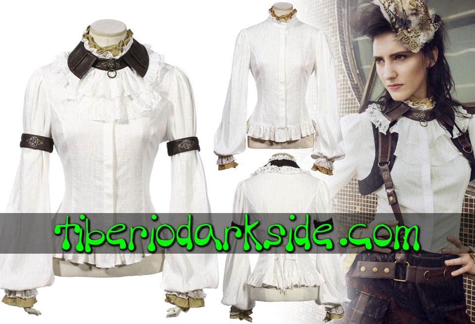 STEAMPUNK - Shirts RQ-BL White Gate Keeper Steampunk Shirt