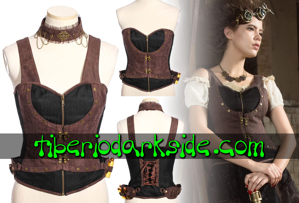 STEAMPUNK - Corsets RQ-BL Black Apothecary Steampunk Overbust Corset