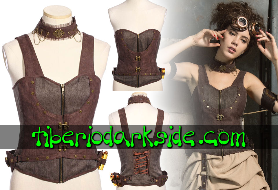 STEAMPUNK - Corsets RQ-BL Brown Apothecary Steampunk Overbust Corset