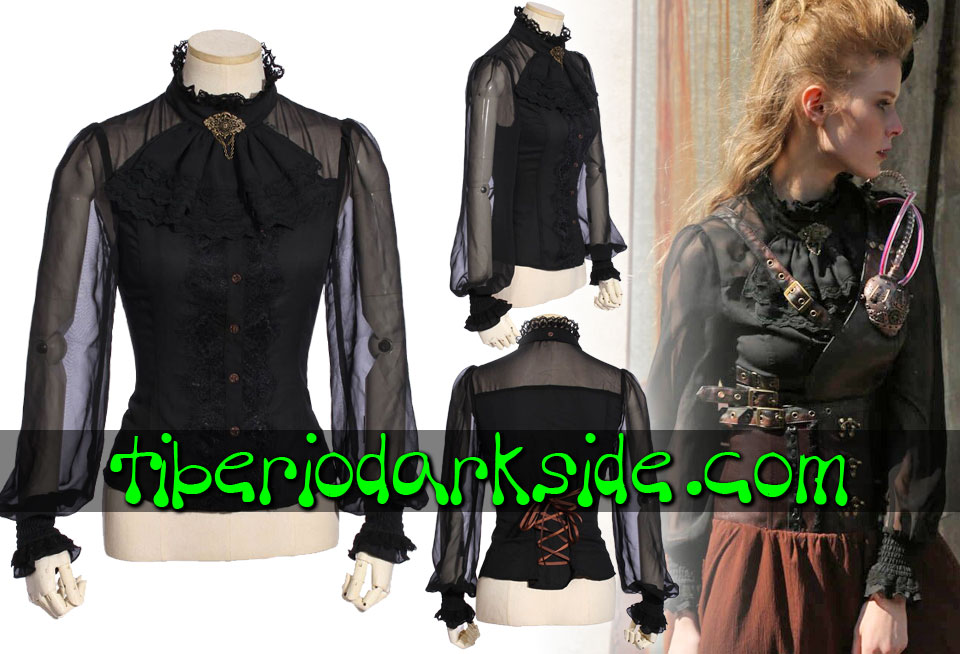STEAMPUNK - Shirts RQ-BL Transparent Sleeves Black Jabot Steampunk Shirt