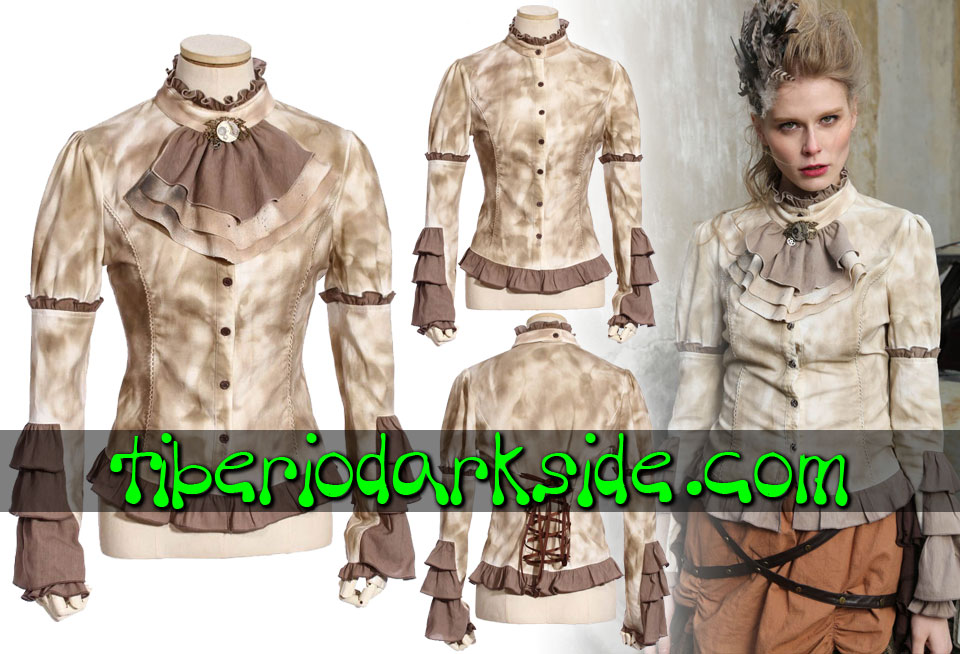 STEAMPUNK - Shirts RQ-BL Burnt Beige Jabot Steampunk Shirt