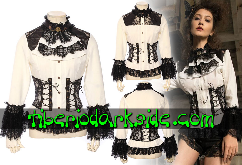 STEAMPUNK - Shirts RQ-BL Black Lace white Jabot Steampunk Shirt