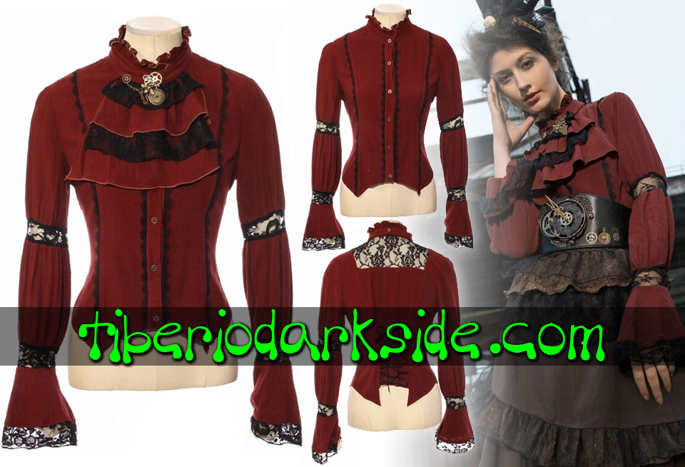 STEAMPUNK - Shirts RQ-BL Lace Trim Red Jabot Steampunk Shirt
