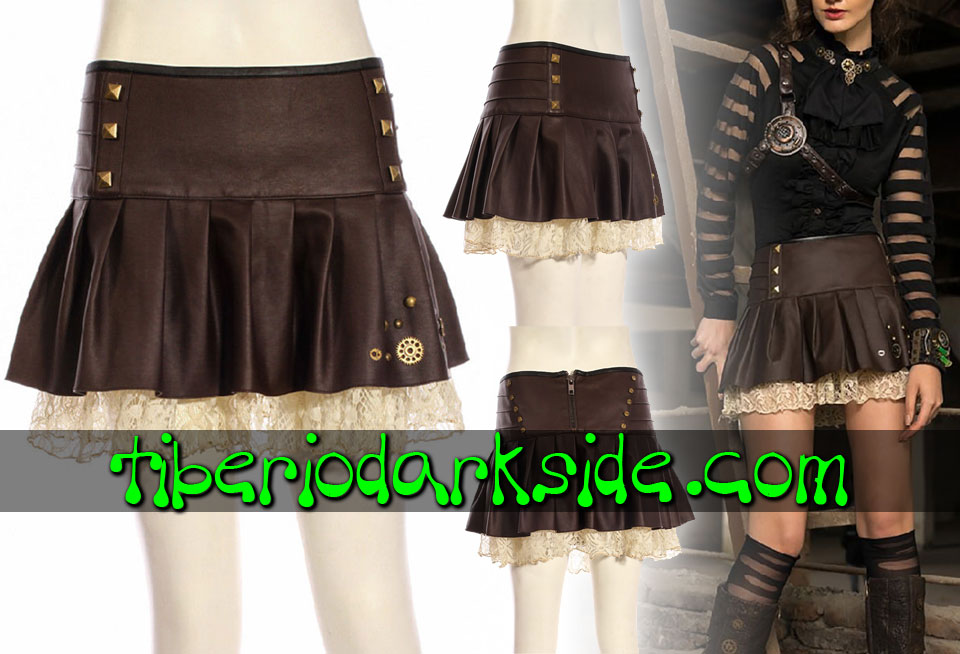 Skirts - Short RQ-BL Gears Faux Leather Steampunk Skirt