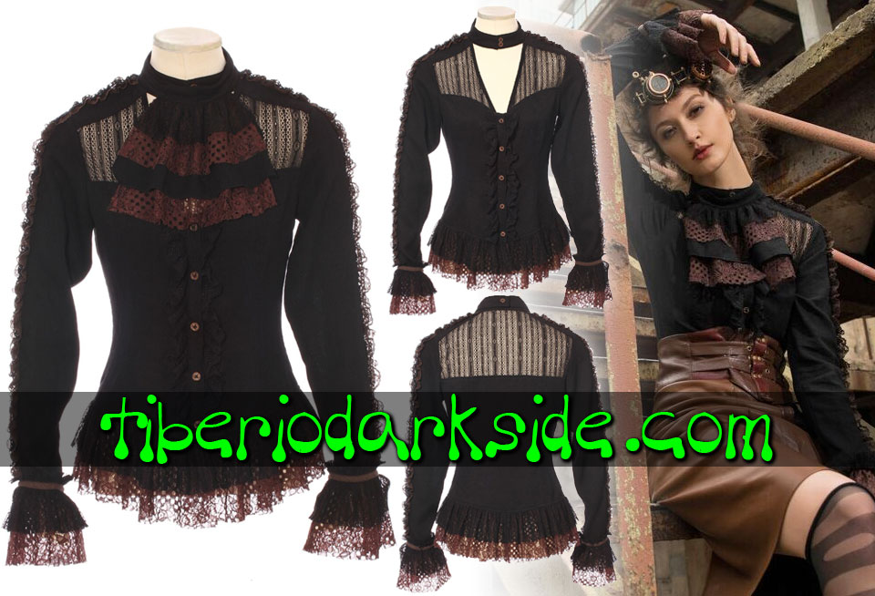 STEAMPUNK - Shirts RQ-BL Black and Brown Openwork Lace Steampunk Shirt