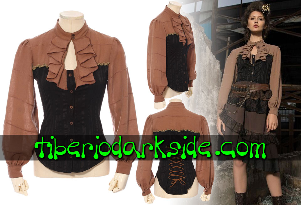 STEAMPUNK - Shirts RQ-BL Cinnamon Drop Neckline Steampunk Shirt