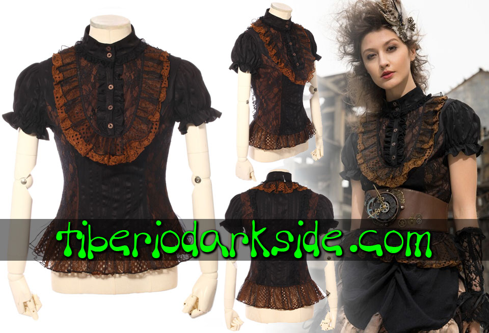 STEAMPUNK - Tops RQ-BL Black and Brown Openwork Lace Steampunk Blouse