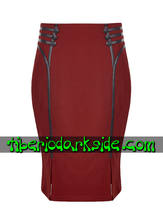 Tiberio Dark Side. Midi - PUNK RAVE Falda Corporate Goth Rojo