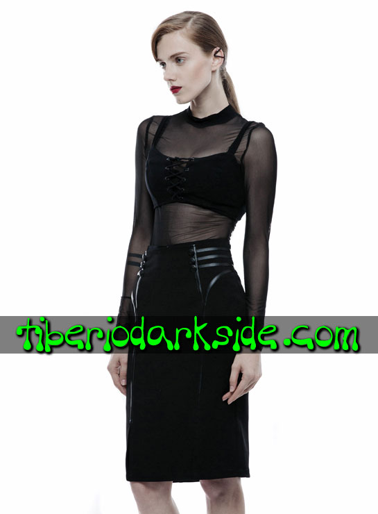 Tiberio Dark Side. Midi - PUNK RAVE Falda Corporate Goth Negro