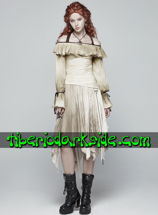 Tiberio Dark Side. Degradadas - PUNK RAVE Falda Steampunk Capas Textura Beige