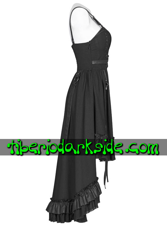 Tiberio Dark Side. Largos - Sin Mangas - PUNK RAVE Vestido Steampunk Largo Regulable Negro