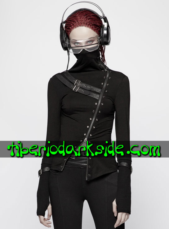 Tiberio Dark Side. Manga Larga - PUNK RAVE Top Cyber Goth Ninja Hebillas