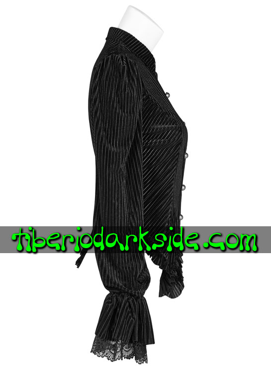 Tiberio Dark Side. STEAMPUNK - PUNK RAVE Black Striped Velvet Steampunk Shirt