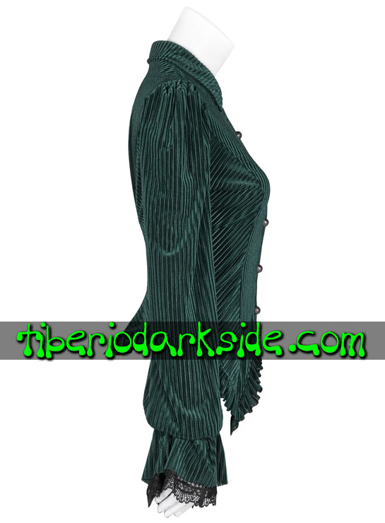 Tiberio Dark Side. STEAMPUNK - PUNK RAVE Green Striped Velvet Steampunk Shirt