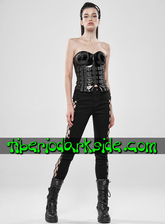Tiberio Dark Side. Overbust - PUNK RAVE Corse Overbust Cyber Goth Tiras Corazon Negro