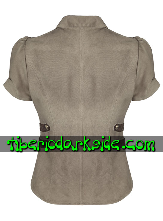 Tiberio Dark Side. Camisas - PUNK RAVE Camisa Steampunk Militar Marron