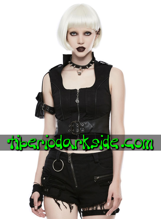 Tiberio Dark Side. Tops - PUNK RAVE Top Post Apocalíptico Tank Girl Bolsillo Brazo