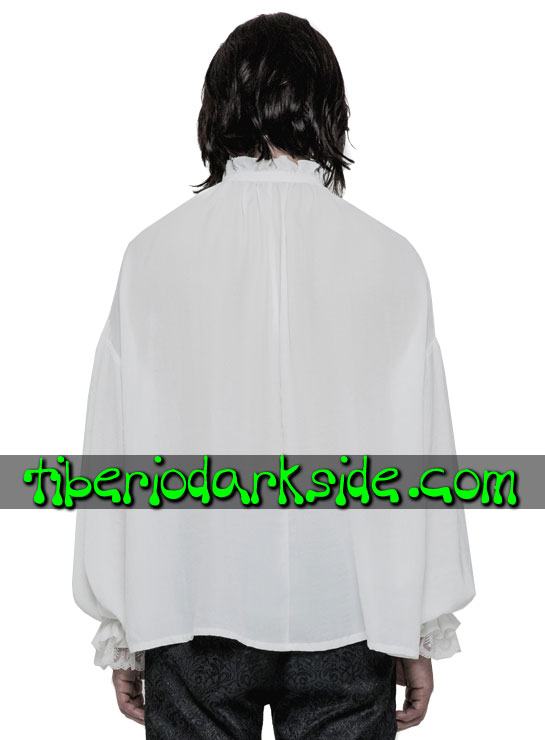 Tiberio Dark Side. Manga Larga - PUNK RAVE Camisa Medieval Blanco