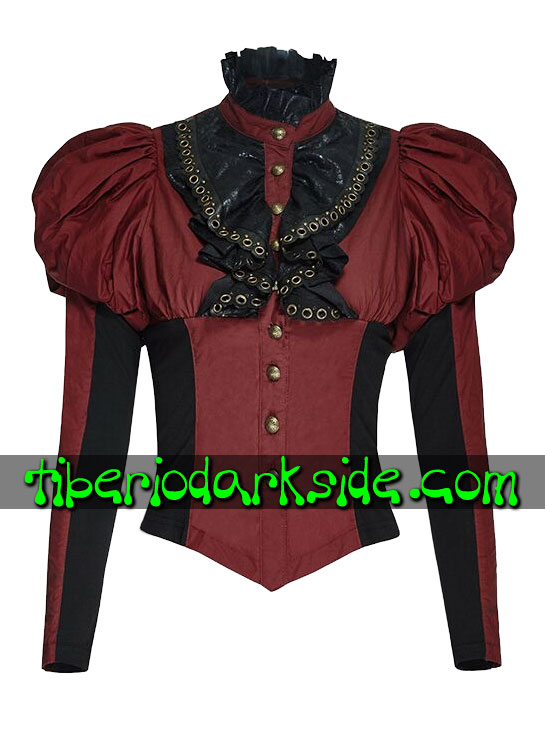 Tops - Steampunk PUNK RAVE Camisa Steampunk Victoriana Rojo