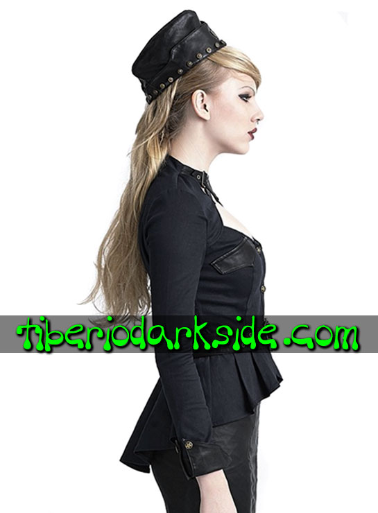 Tiberio Dark Side. CORPORATE & MILITARY GOTH - PUNK RAVE Camisa Militar Hebillas Negro