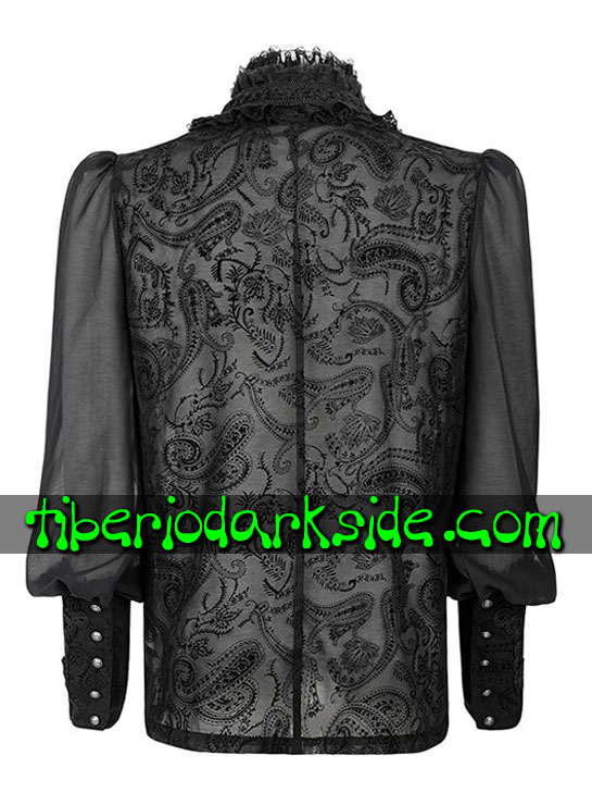 Tiberio Dark Side. Manga Larga - PUNK RAVE Camisa Gotica Transparente