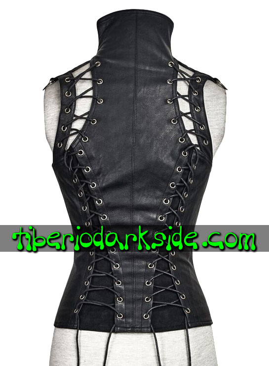 Tiberio Dark Side. Outwear - PUNK RAVE Valkyrie Black Synthetic Leather Steampunk Vest Corset