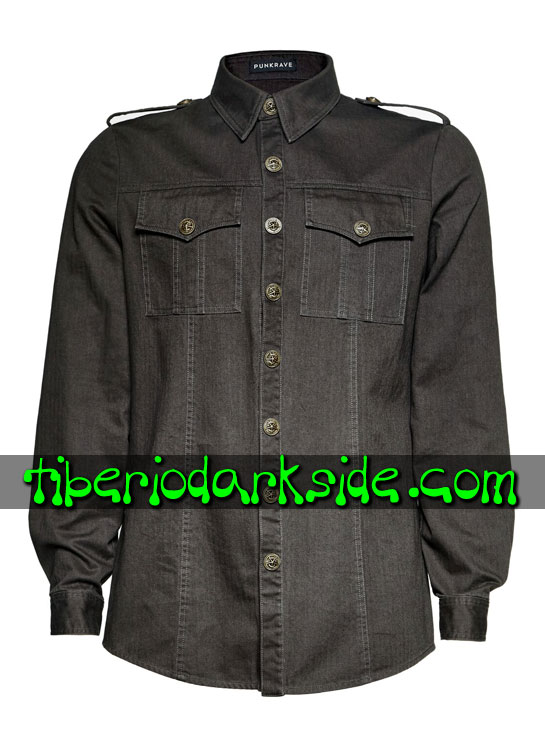 Tiberio Dark Side. CORPORATE & MILITARY GOTH - PUNK RAVE Camisa Militar Uniforme Gris