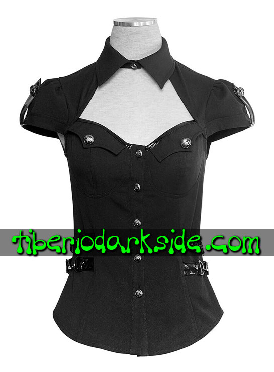 - MILITAR PUNK RAVE Camisa Militar Pin Up Negro
