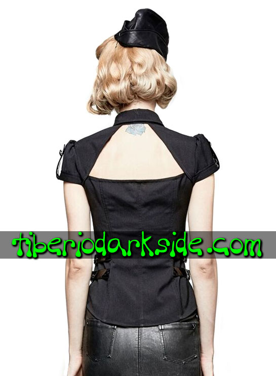 Tiberio Dark Side. MILITAR - PUNK RAVE Camisa Militar Pin Up Negro