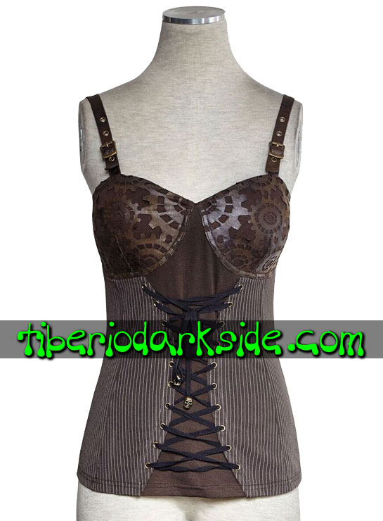 Tiberio Dark Side. Tops - PUNK RAVE Top Steampunk Engranajes Troquelados