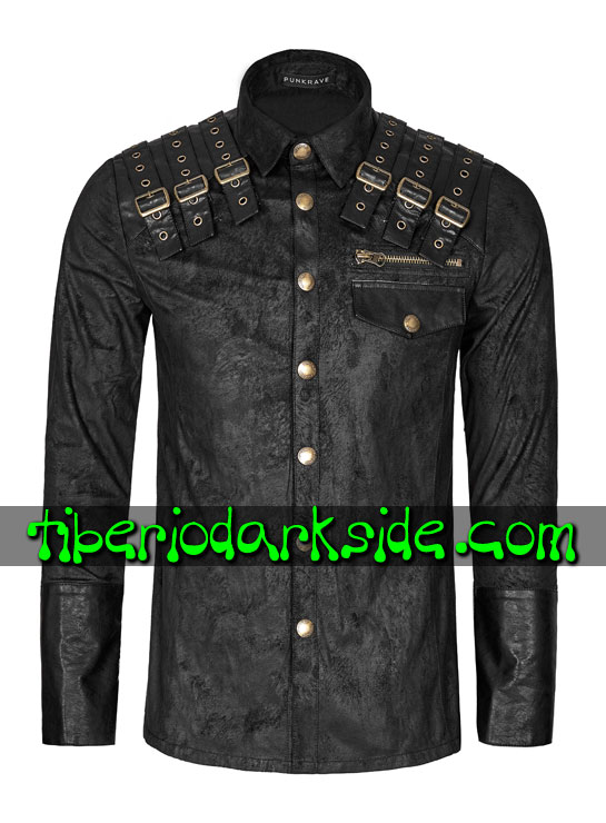 Tiberio Dark Side. Manga Larga - PUNK RAVE Camisa Post Apocaliptica Distopia