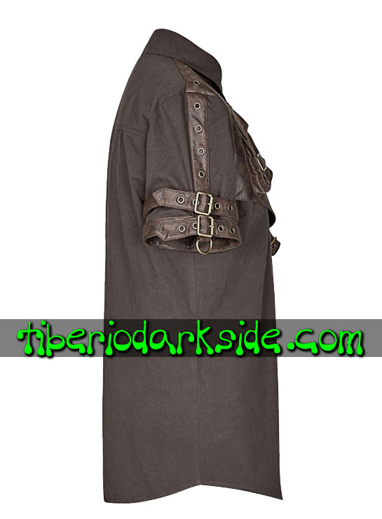 Tiberio Dark Side. Camisas - PUNK RAVE Camisa Steampunk Arnes Bolsillo Marron