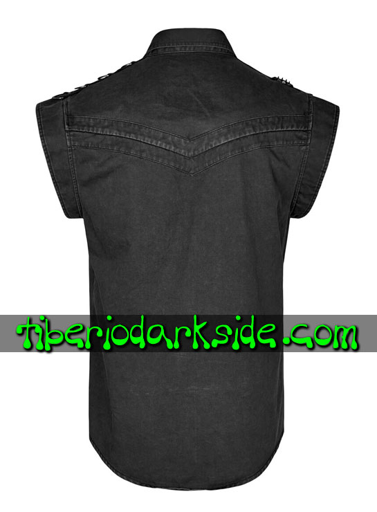 Tiberio Dark Side. MILITAR - PUNK RAVE Camisa Military Goth Cruz Negra