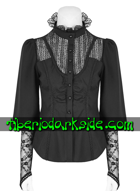 Tiberio Dark Side. VICTORIAN & GOTHIC - PUNK RAVE Black Lace Chest Victorian Shirt