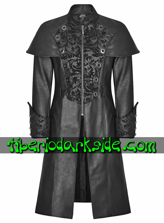 Tiberio Dark Side. STEAMPUNK - PUNK RAVE Brown Synthetic Leather Steampunk Cape Coat
