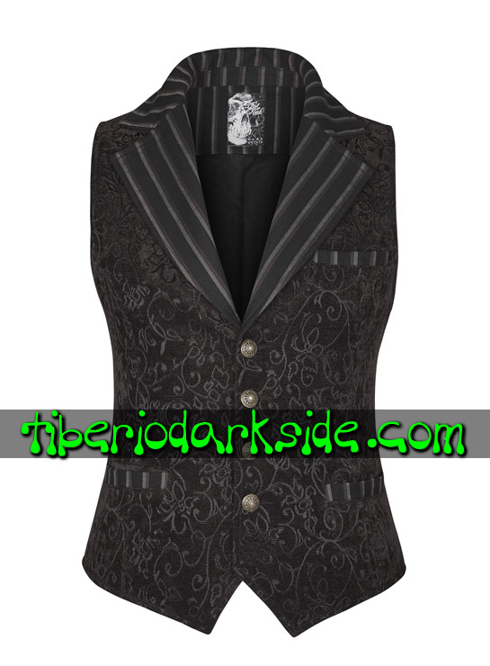 Tiberio Dark Side.  - PUNK RAVE Chaleco Steampunk Brocado Marron